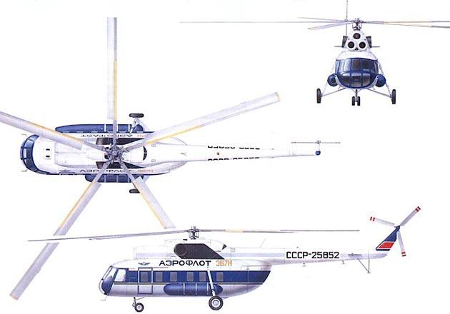 Длина вертолета с вращающимися